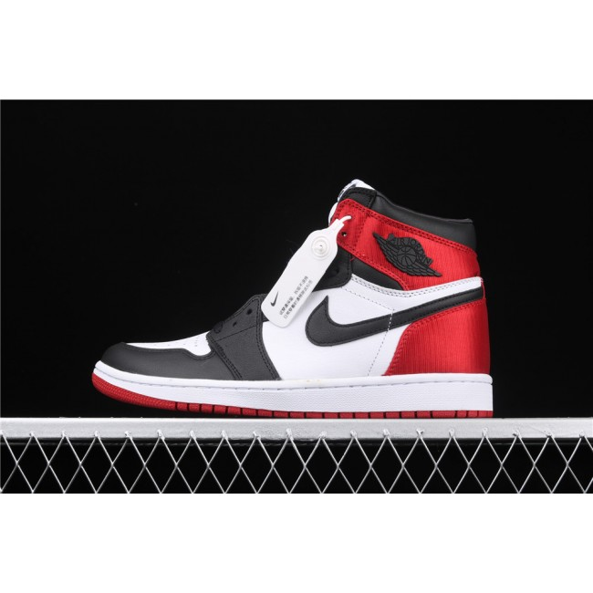 Men & Women Air Jordan 1 High Satin WMNS Black Toe