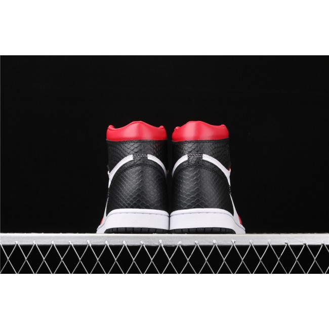 Men & Women Air Jordan 1 WMNS Satin Snake White Black