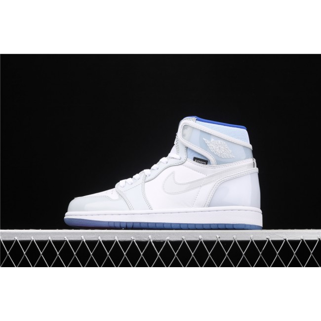 Men & Women Air Jordan 1 X Zoom R2T High White Light Gray