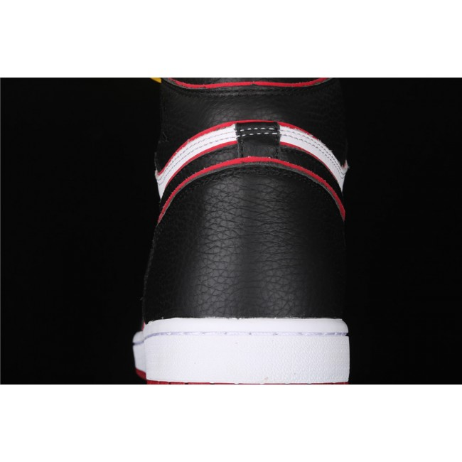 Men Air Jordan 1 RETRO High OG Black Red Fly Logo