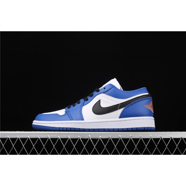 Men & Women Air Jordan 1 Low Black Logo White Blue