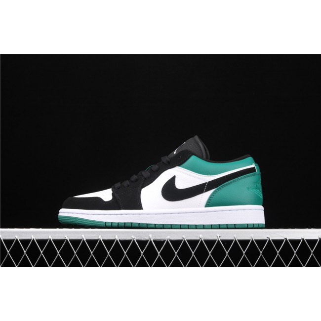 Men & Women Air Jordan 1 Low Black Logo White Green