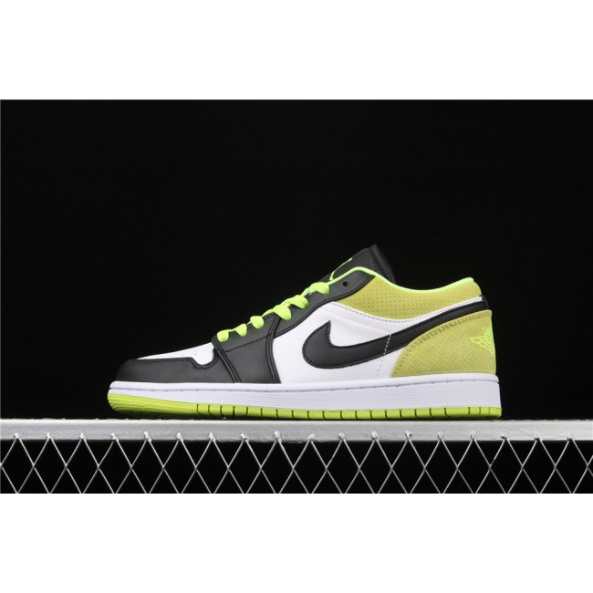 Men & Women Air Jordan 1 Low Black White Green