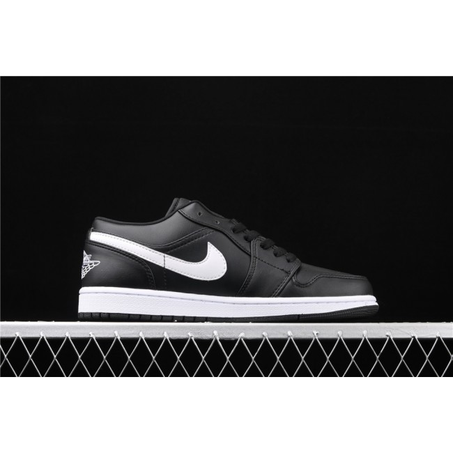 Men & Women Air Jordan 1 Low Black White Logo
