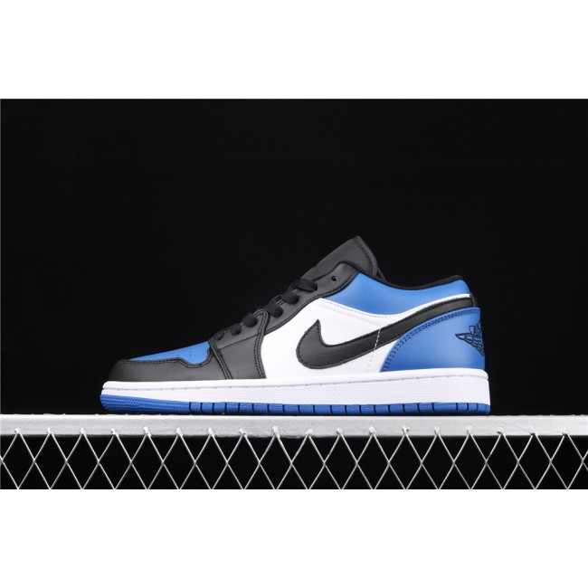 Men & Women Air Jordan 1 Low Blue White Black Logo