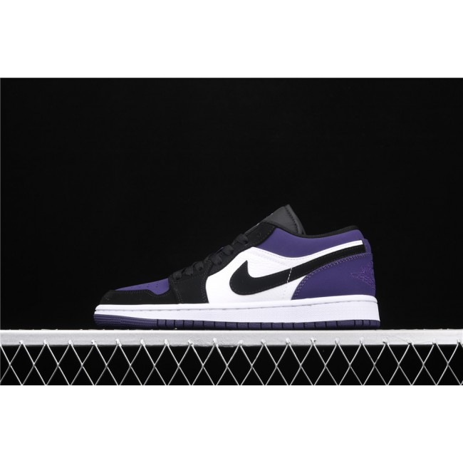 Men & Women Air Jordan 1 Low Court Purple White Black Logo