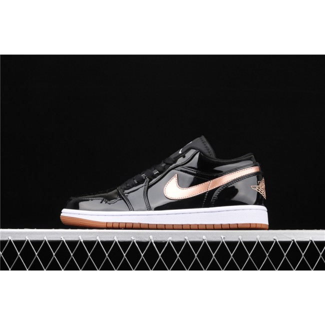 Men & Women Air Jordan 1 Low Light Black Golden Logo
