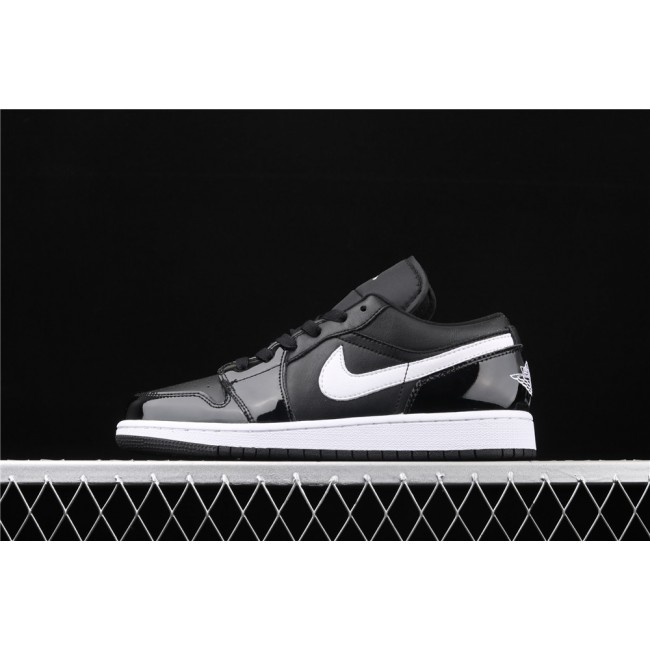 Men & Women Air Jordan 1 Low Light Black White Logo