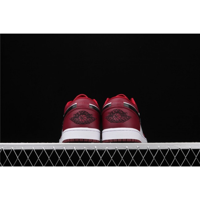 Men & Women Air Jordan 1 Low Red White Black Logo