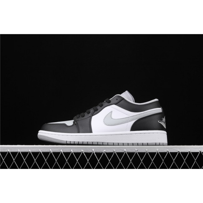 Men & Women Air Jordan 1 Low Shadow Black White Gray Logo
