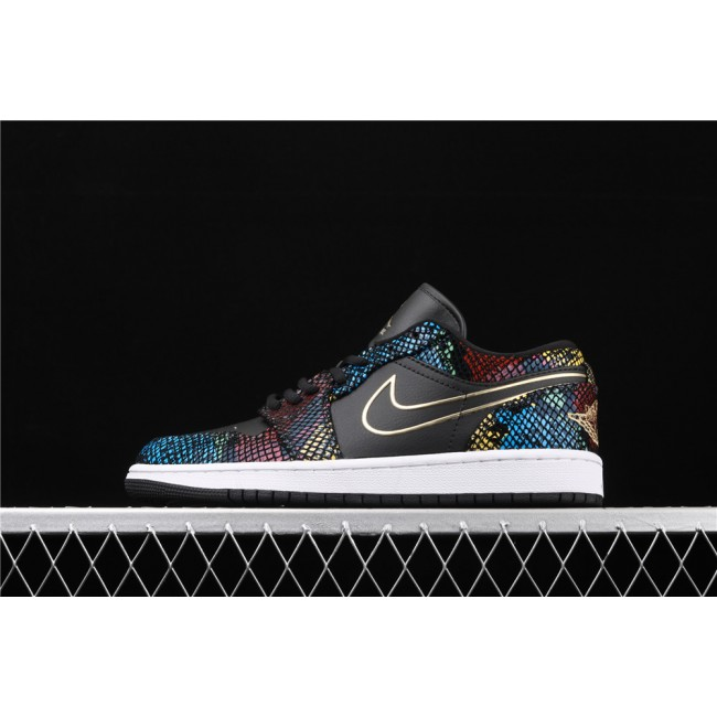 Men & Women Air Jordan 1 Low Shadow Colorful Snakeskin
