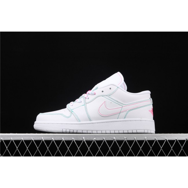 Men & Women Air Jordan 1 Low Shadow Green Rose Red Line
