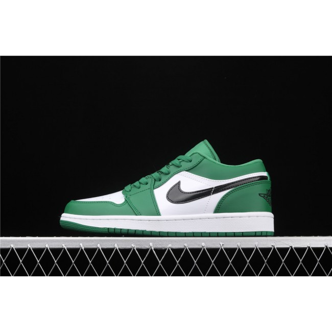 Men & Women Air Jordan 1 Low White Green Black Logo