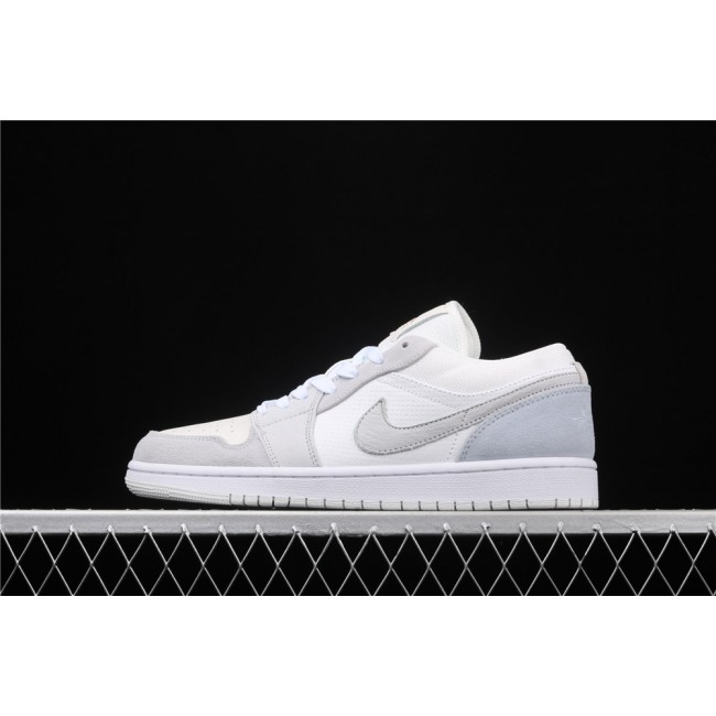 Men & Women Air Jordan 1 Low White Light Gray Logo