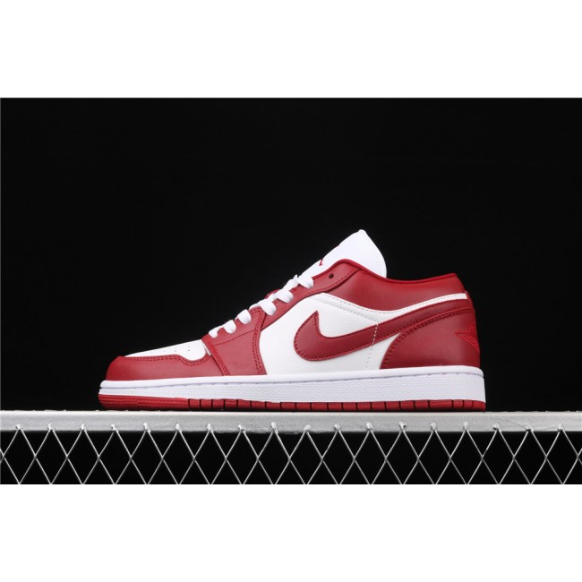 Men & Women Air Jordan 1 Low White Red Logo
