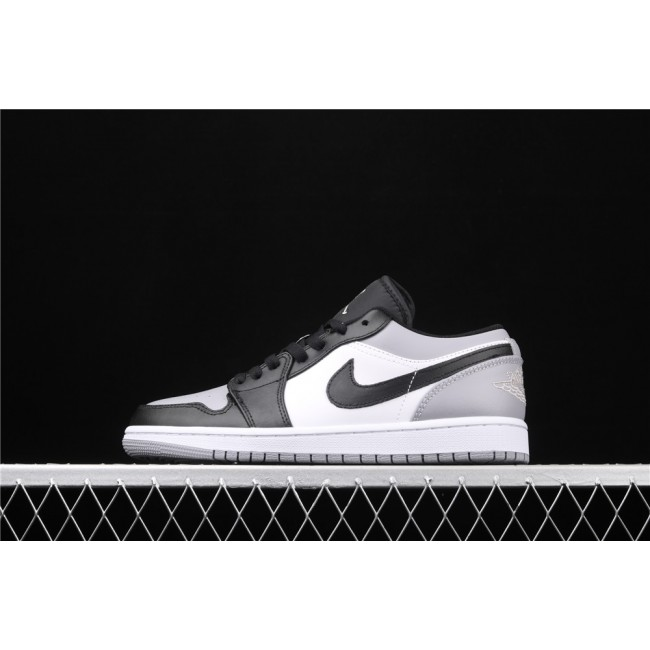 Men Air Jordan 1 Low Black Logo Gray White
