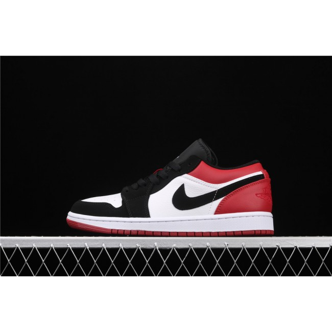 Men Air Jordan 1 Low Black Logo Red White