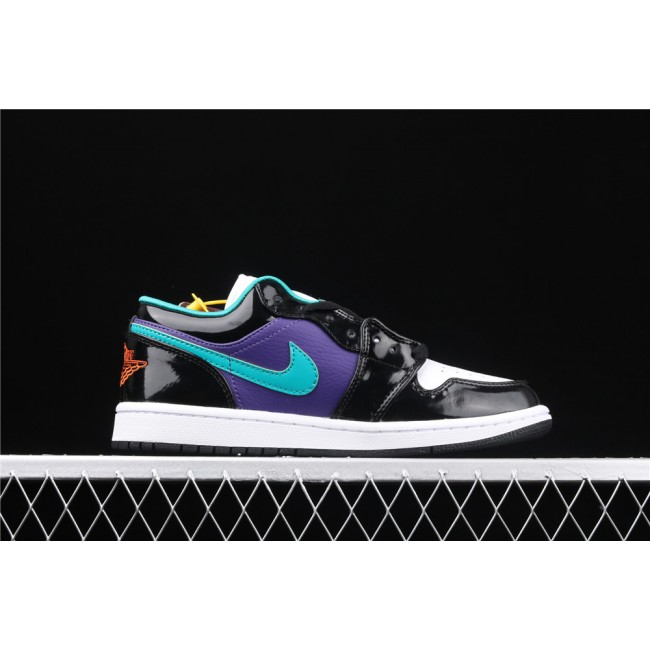 Men Air Jordan 1 Low Black Purple White