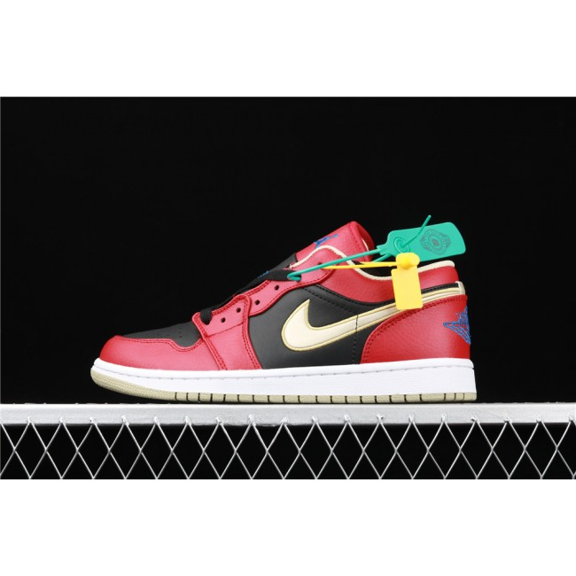 Men Air Jordan 1 Low Black Red Golden
