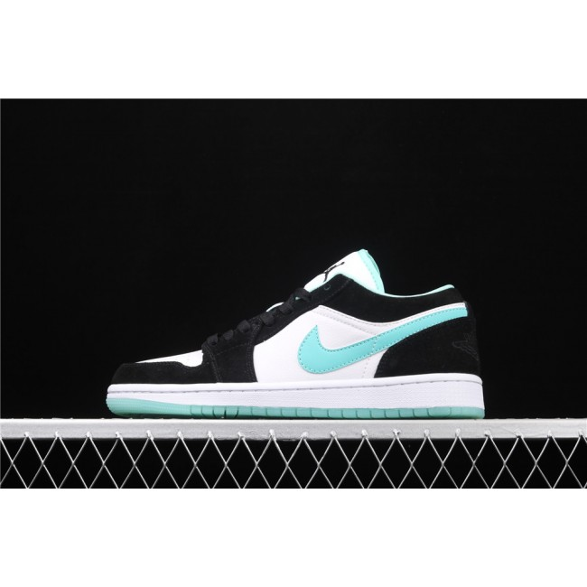 Men Air Jordan 1 Low Black White Azure Logo