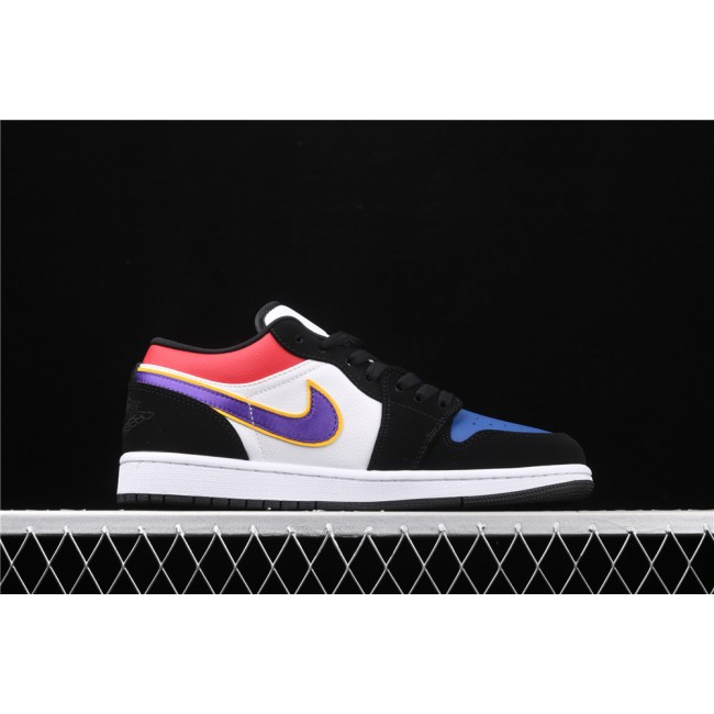 Men Air Jordan 1 Low Black White Purple Logo