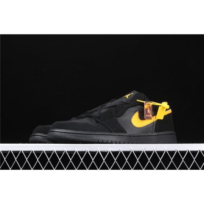 Men Air Jordan 1 Low Black Yellow