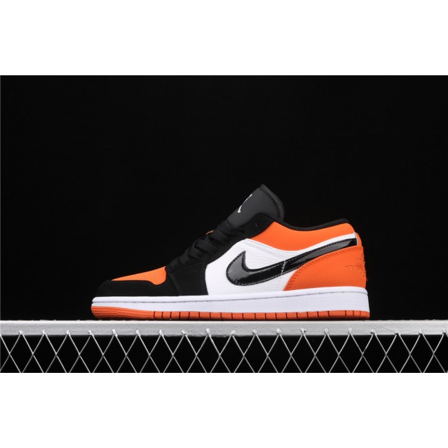 Men Air Jordan 1 Low Orange White Black Logo