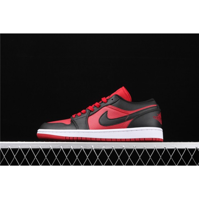 Men Air Jordan 1 Low Red Black Logo