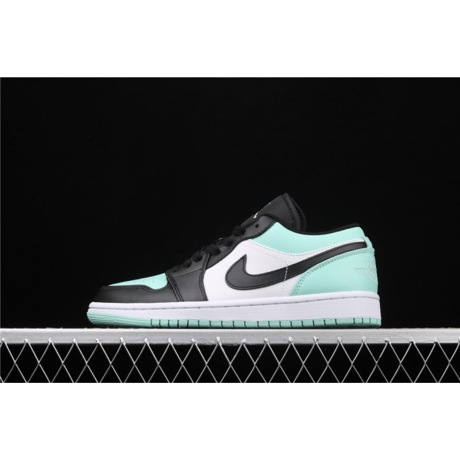 Men Air Jordan 1 Low White Azure Black Logo