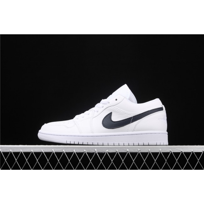 Men Air Jordan 1 Low White Black Logo