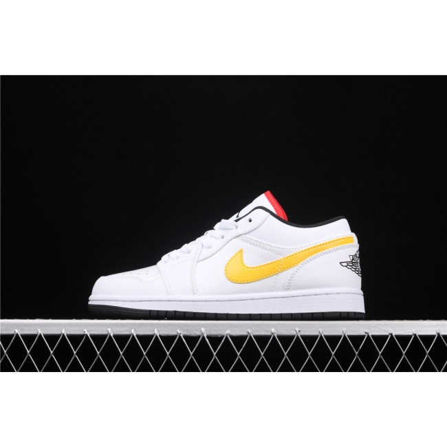 Men Air Jordan 1 Low Yellow Red Logo