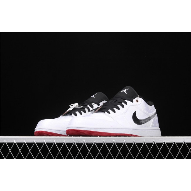 Men CLOT x Air Jordan 1 Low Fearless White