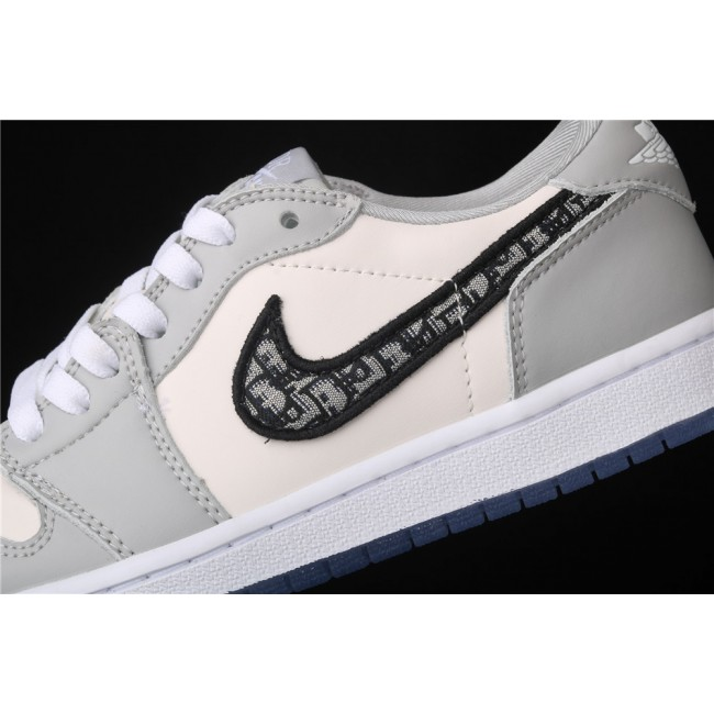 Men Dior x Air Jordan 1 Low OG Grey White