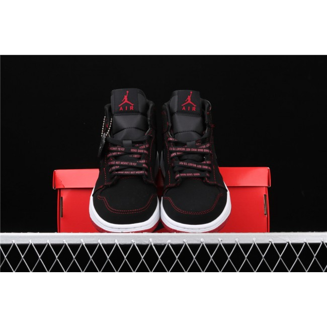 Men & Women Air Jordan 1 07 Mid Fearless In Black Red
