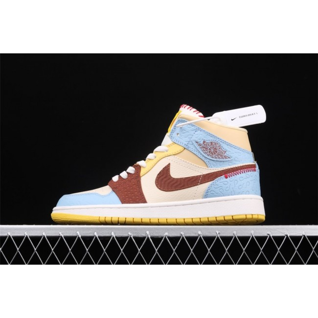 Men & Women Air Jordan 1 Mid Fearless In Light Blue Brown Logo