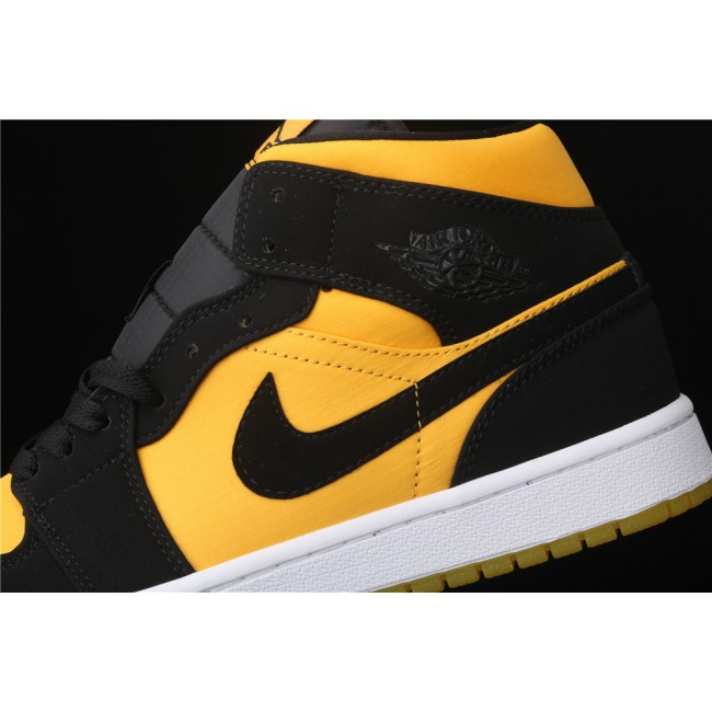 Men & Women Air Jordan 1 Mid Hornets In Yellow Black Logo