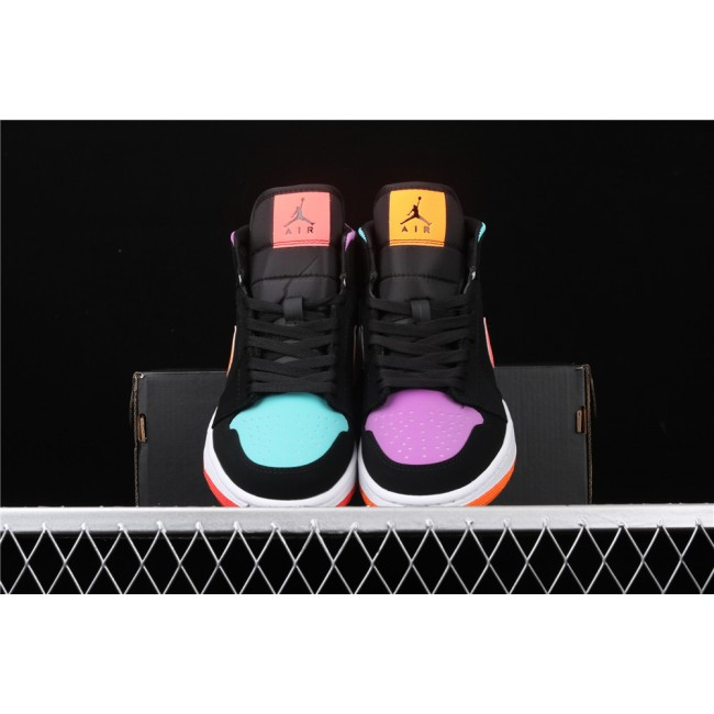 Men & Women Air Jordan 1 Mid In Black Colorful Logo