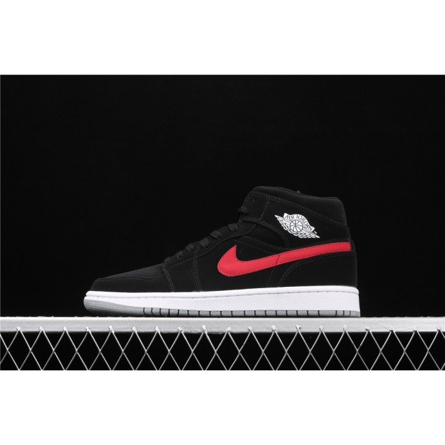Men & Women Air Jordan 1 Mid In Black Red Blue Logo