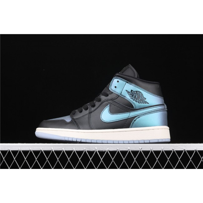 Men & Women Air Jordan 1 Mid In Black Turquoise Logo
