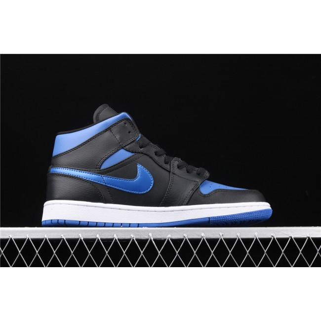 Men & Women Air Jordan 1 Mid In Black White Blue Logo