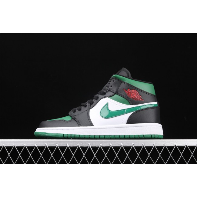 Men & Women Air Jordan 1 Mid In Black White Green Logo