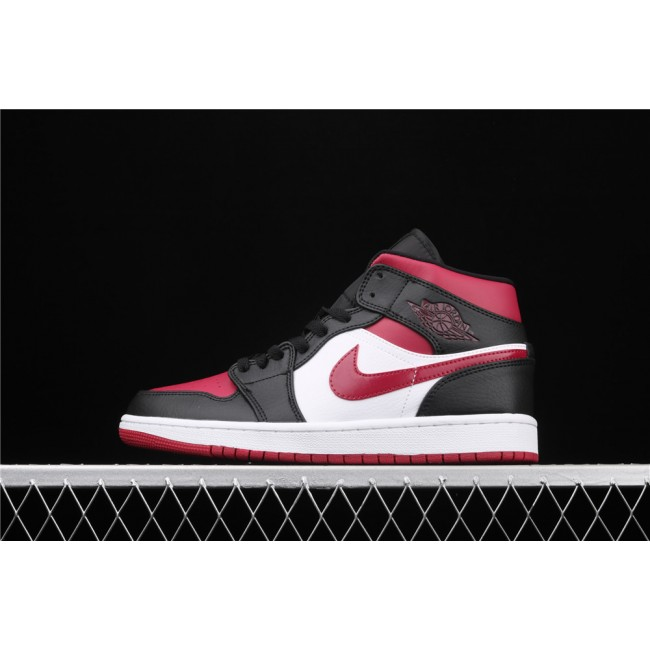 Men & Women Air Jordan 1 Mid In Black White Red