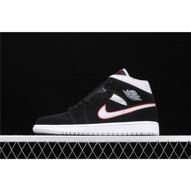 Men & Women Air Jordan 1 Mid In Black White Red Logo