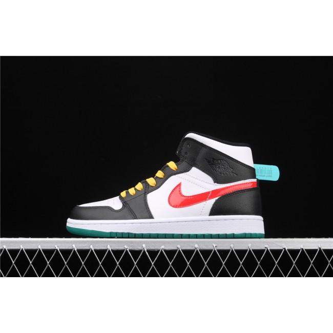Men & Women Air Jordan 1 Mid In Black White Yellow Red
