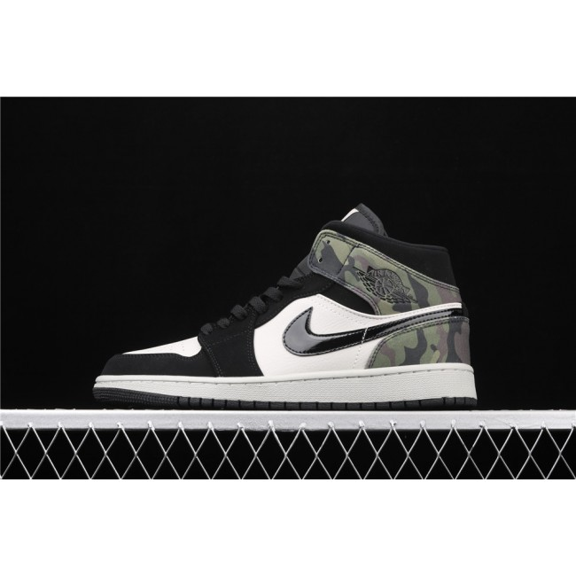 Men & Women Air Jordan 1 Mid In Camouflage Black Logo