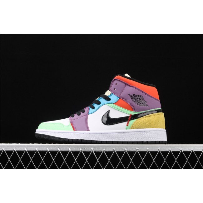 Men & Women Air Jordan 1 Mid In Colorful Black Logo