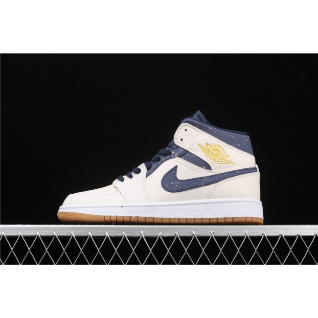 Men & Women Air Jordan 1 Mid In Cream Blue Logo