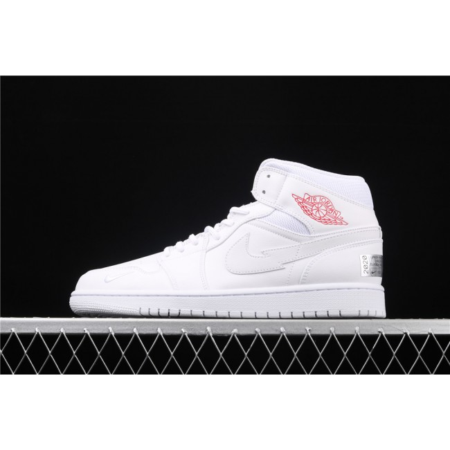 Men & Women Air Jordan 1 Mid In Full White Logo