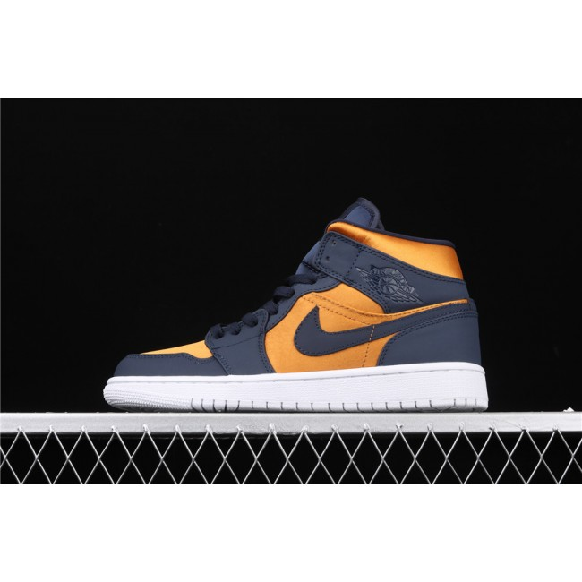 Men & Women Air Jordan 1 Mid In Golden Blue Logo