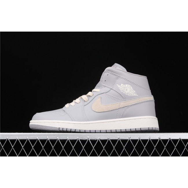 Men & Women Air Jordan 1 Mid In Gray Sand Logo